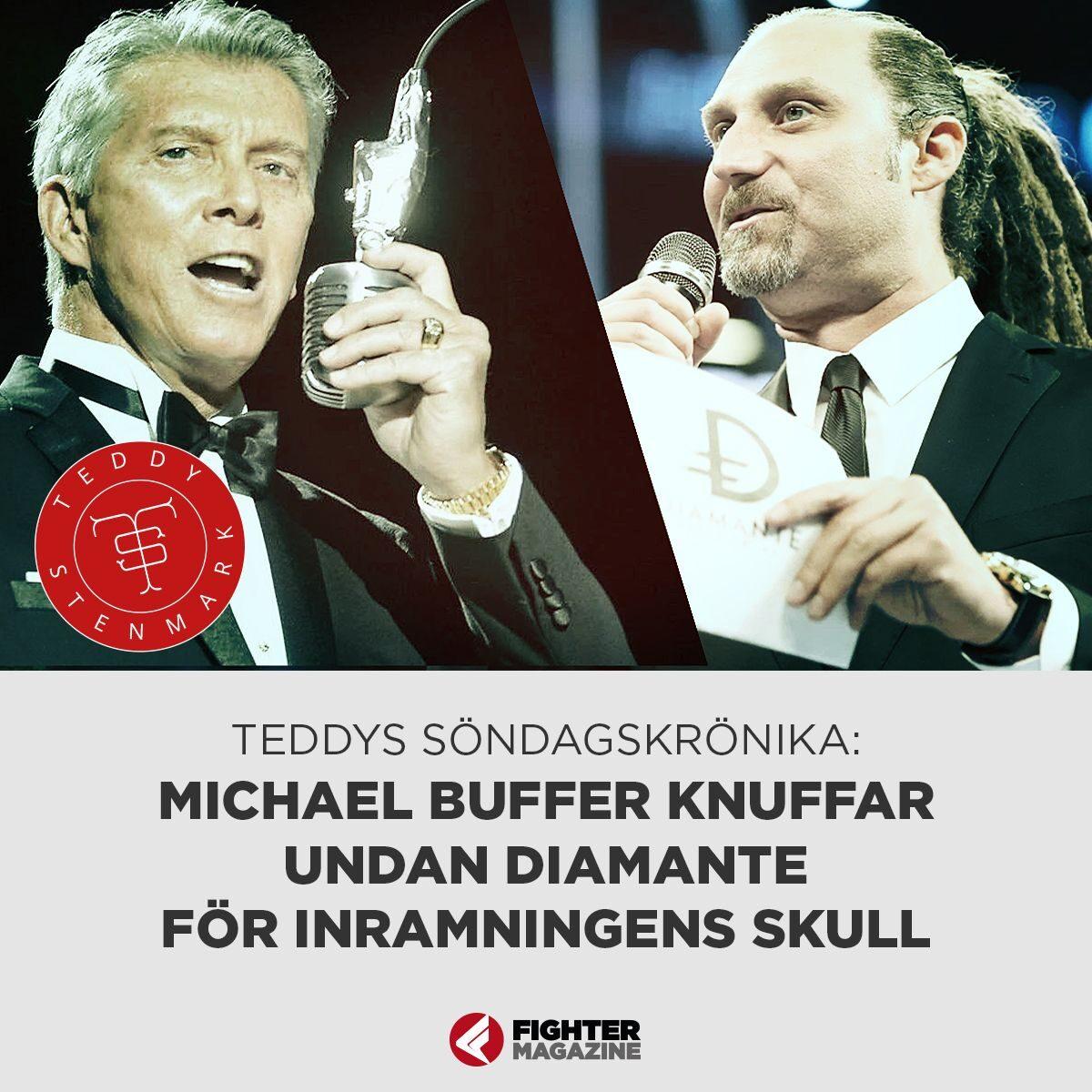 Michael Buffer knuffar undan Diamante för inramningens skull!